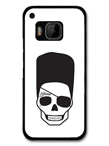 Cool Hipster Skull with Flat Top Eye Patch and Tattoo Minimalist hülle für HTC One M9 (Flat Eye Patch)