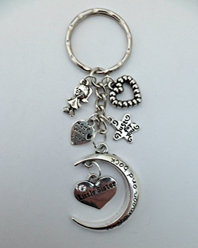 I LOVE YOU TO THE MOON AND BACK KEYRING Little Sister Girls Ladies Charm Pendant
