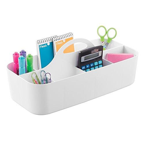mDesign Schreibtisch-Organizer in weiß (groß) - perfekte Schreibtischablage für Scheren, Stifte, Klebezettel & Co. - Schreibtisch-Ordnungssystem mit 36,83 cm x 17,78 cm x 14,6 cm (Klare Kunststoff-organizer Box)