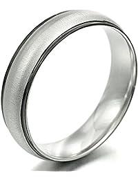 Everstone Anillo de bodas de pareja Anillo de titanio Anello unisex joyas Tamaño:11.25