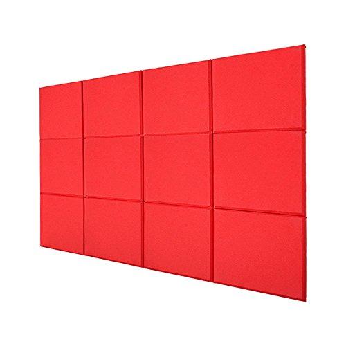BQLZR 30x30x2,5 cm Rot Fiberglas Akustische Home Studio Schalldichte Platten Fliesen Pack von 12