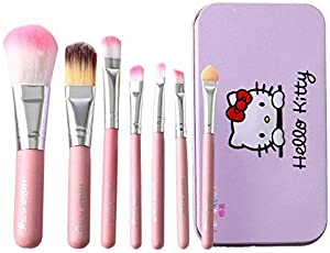 CETC Hello Kity Complete Makeup Mini Brush Kit With A Storage Box - Set Of 7 Pcs