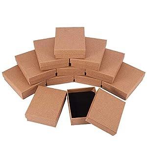 BENECREAT 12 Pack Scatole di Cartone per Gioielli, Elegante Confezione Regalo Rettangolare e Dimensioni Piccole, 8.9 x 6.9 x 2.7cm, Marrone