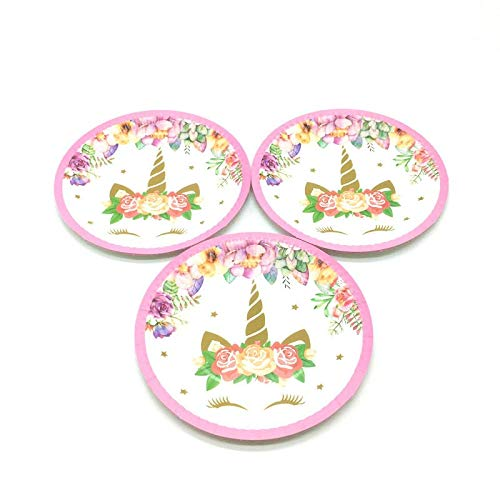 1 Set Unicorn Theme Girl Boy Favor Birthday Party Baby Shower Pink Cup Plate Napkin Straw Blowout Cocked Hat Tablecloth Supply,Plates-10Pcs