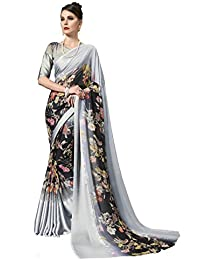 Gaurangi Creation Women's Printed Weightless Georgette Satin Patta Saree For Women (leele3101 Grey)