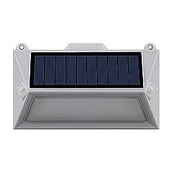 Lumi Jardin POLY W11 Projecteur Spot Solaire 18 LED Extérieur Etanche Lumière avec Double Détecteur de Mouvement, Plastique, Intégré, 1 W, Gris, 16 x 9.5 x 3.6 cm