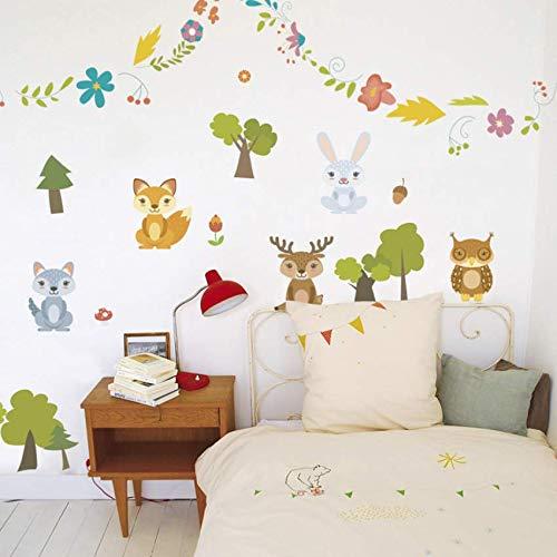 CFLEGEND Wand Stickerhappy Waldtiere Kaninchen Dear Baum Eule Blumen Wandaufkleber Für Kinderzimmer Kinder Sofa Wohnkultur Wandtattoo Poster 30X90Cm
