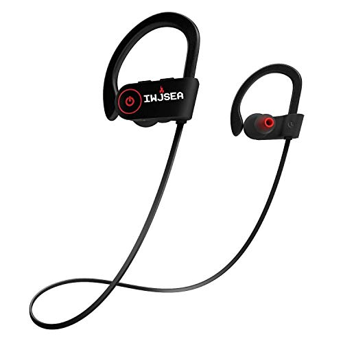 Mobile Phone Bluetooth Headset, IWJSEA Wireless in-Ear Headphone,Sports Earphone w/Mic IPX7 Waterproof HD Stereo Sweatproof in-Ear Earbuds Gym Running Workout 8 Hour Battery Noise Cancelling,Black