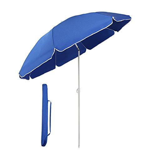 Sekey Parasol de Jardin ou terrasse, diamètre 160 cm, Bleu, Rond, Protection UV20+