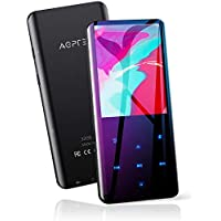 """AGPTEK 32GB Reproductor MP3 Bluetooth 5.0, Pantalla a Color de 2.4"""" con Altavoz Interno, Radio FM, Grabación, Botones Táctiles, Soporte hasta 128GB, Negro"""