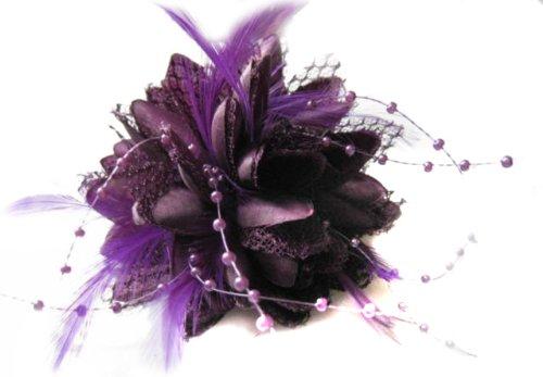 Clip pour cheveux Motif fleur plumes et perles Violet