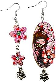 Orecchini dipinti a mano – KOKESHI ROSA ASIMMETRICI - Orecchini pendenti da donna, Gioielli in legno dipinti a