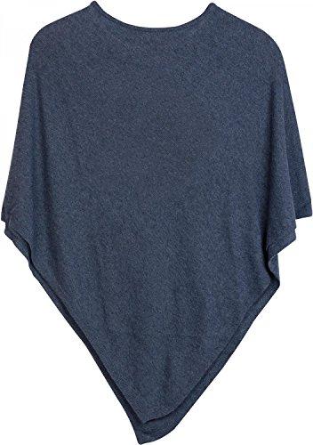 styleBREAKER weicher Feinstrick Poncho in Unifarben, Rundhals, Damen 08010042, Farbe:Blau
