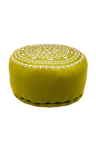 Orientalisches marokkanisches orient indisches rundes Sitzkissen Hocker Sitzhocker Pouf Sitzpouf bestickt jabran grün - 52cm