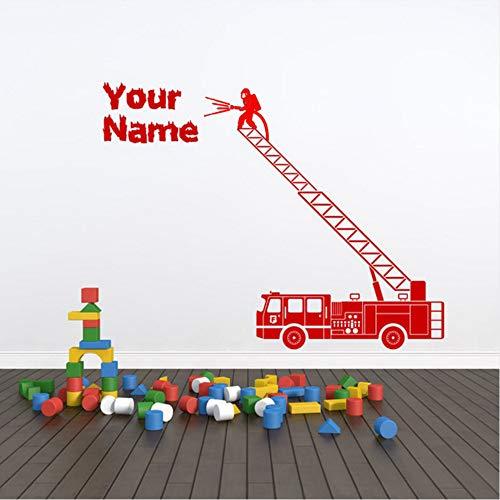 【mzdzhp】【Kann angepasst werden, Größe, Farbe, DIY-Muster】Personalisierte Feuerwehrauto Wall Decal Sticker Art. Verschiedene Farben Und Größen Custom Name Kids Room Wall Decal 57X44cm