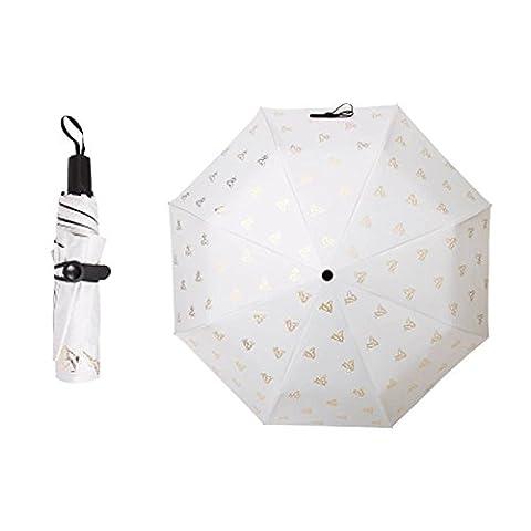 Travel Triple Foldable Umbrella Winddicht Leicht mit Anti-UV / Slip Griff, Schmetterling, Cremig