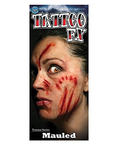 (Horror-Shop FX Transfer Kratz & Beiß Fleischwunden Tattoos für Halloween)