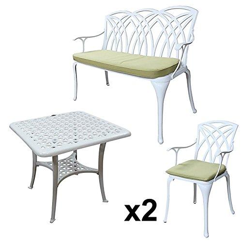 Lazy Susan - SANDRA Quadratischer Kaffeetisch mit 1 APRIL Gartenbank und 2 APRIL Stühlen - Gartenmöbel Set aus Metall, Weiß (Grüne Kissen)