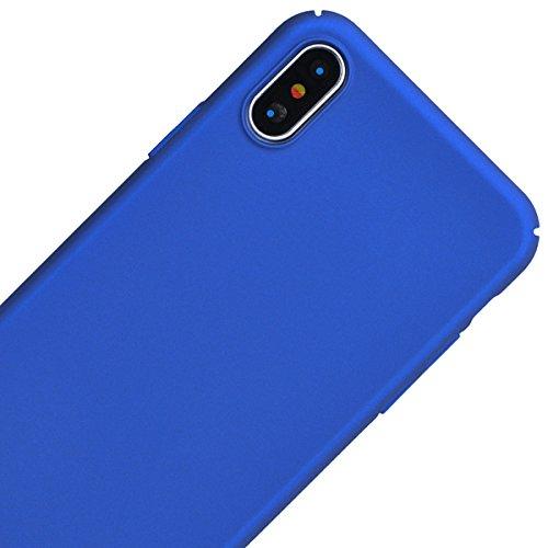 Cover iPhone X, VemMore Custodia in Difficile PC Protettiva Case Ultra Sottile Resistente con Colore Solido Superficie Rivestita Matte Backcover Caso di Alta Qualità Durevole Flessibile Plastica Shell Blu