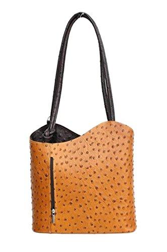 DW-Accessoires - elegante Leder Handtasche - Schultertasche - Rucksack - 2in1 Handtasche - Straußenleder-Design - cognac/braun - Made in Italy