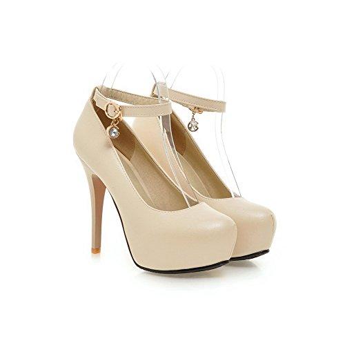 VogueZone009 Femme Matière Souple Rond Boucle Couleur Unie Chaussures Légeres Beige