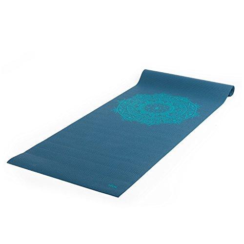 Yogamatte der LEELA COLLECTION, PVC-MAttte mit Öko-Tex 100, petrol, bedruckt mit türkisem Design-Print