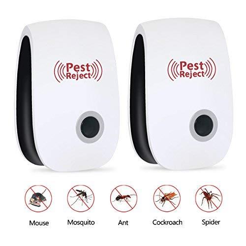 Repelente de plagas ultrasónico, Controlador electrónico de plagas para Insectos, cucarachas, Moscas, Hormigas, Arañas, Ratones, Insectos, etc. (2 PCS)