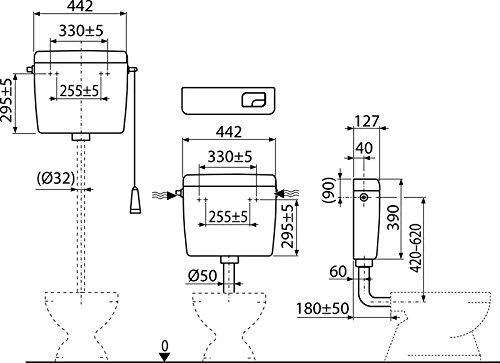 Spülkasten A93 Dual-Spülung 3/6l