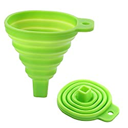 Clytius 2pc Green Silicone Collapsible Funnel Foldable Funnel for Liquid Transfer 100% Food Grade Silicone (Pack of 2) By