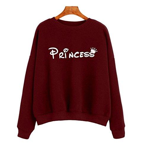 Switchali Chemisier à manches longues Lettre Femmes overs Imprimer Sweatshirt (S, Vin rouge)