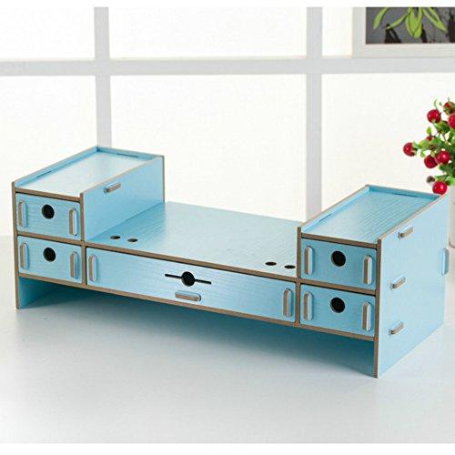 dreamaccess aus Holz gemachte Gute Bj TV Laptop PC Monitor Stand, extra Schublade, Handy Tasche, Bücherregal, Pen Box, täglich Stuff Organizer mehrfarbig blau Medium (Blau Bücherregal)