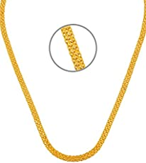 GoldNera Gold Plated Non-Precious Metal Flat Necklace for Men
