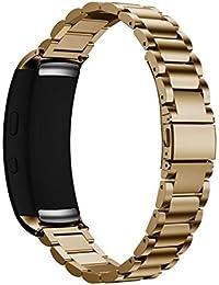 Reloj banda, happytop acero inoxidable pulsera correa de muñeca relojes de repuesto para Samsung Gear Fit 2sm-r360, hombre, dorado, S