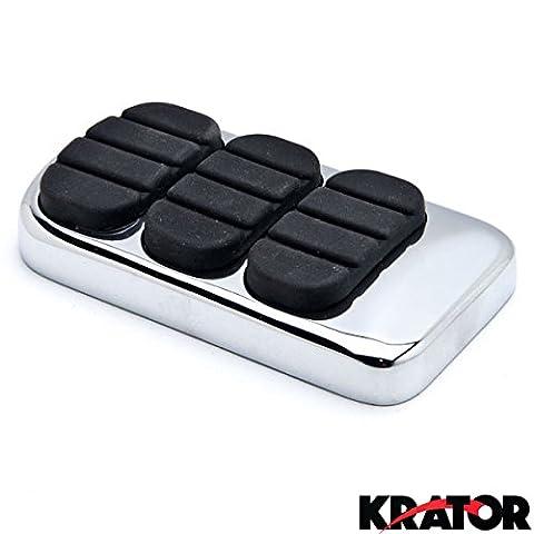 Krator® Nouvelle Chrome Pédale de frein Pad Coque en caoutchouc antidérapant Noir pour Harley Kawasaki Yamaha Suzuki Chrome Pédale de frein Pad Cover Noir antidérapant en caoutchouc