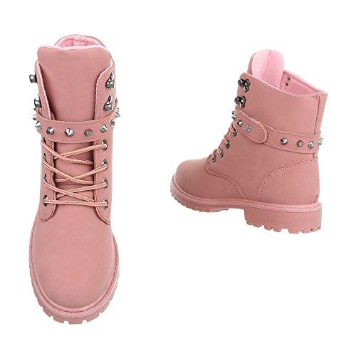 Schnürstiefeletten Damenschuhe Schnürstiefeletten Blockabsatz Schnürer Schnürsenkel Ital-Design Stiefeletten Pink