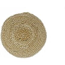 Hecho a mano respetuoso con el medio ambiente alfombra de trenzado redonda natural banana cable de lugar alfombrilla diameter-13, resistente al calor caliente aislamiento parte dinner-artisan fabricado a mano en la India