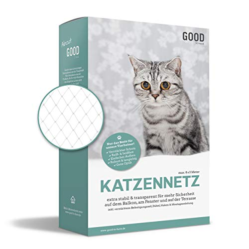Good-to-have Katzennetz für Balkon und Fenster | 8x3m transparent | Balkonnetz inkl. extra Schutz, Montage-Set und eBook