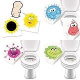 1 x WC Aufkleber SONNE + 4 x Monster Toilettensticker damit junge Männer besser in die Toilette zielen - verfärbende Sticker, lustig und hilfreich✔️