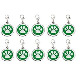 Balacoo Lot de 10 médailles d'identification personnalisées pour chien ou chat Vert Size 1 Vert