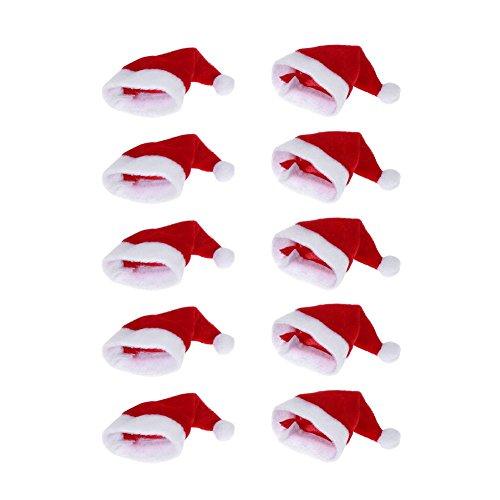 Demiawaking 10pcs mini cappello di babbo natale copertura della bottiglia di vino cappello per coltello e forchetta decorazione natalizia