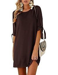 4fe5743cfc60 YOINS Sommerkleid Damen Tshirt Kleid Rundhals Kurzarm Minikleid Kleider  Langes Shirt Lose Tunika mit Bowknot…