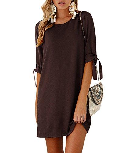 YOINS Damen Sommerkleid Rundhals Kleid Kurzarm T-Shirt Langes Shirt Lose Tunika Minikleid mit Bowknot Ärmeln Coffee XS/EU32-34
