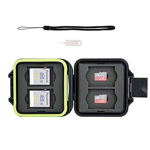 Kiwifotos 8 Slots Stabil und Steif Memory Card Case mit SIM-Karte Werkzeug zum Entfernen und String (Passend für 4 x SD, 4 x Micro SD Karten)