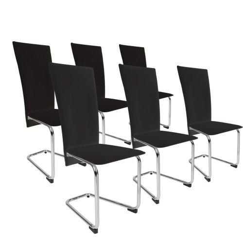 Miadomodo Sedie cucina set sedie tavolo da pranzo soggiorno similpelle ca. 57/38,5/103 cm colore nero set da 6