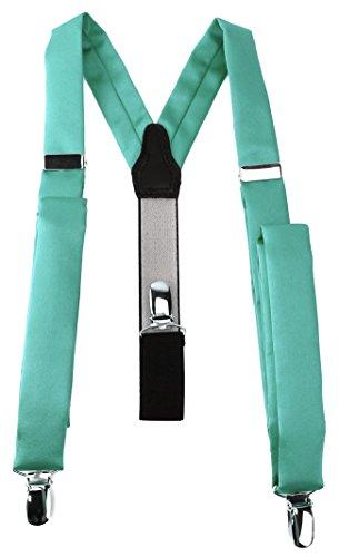TigerTie schmaler Unisex Hosenträger in Y-Form mit 3 extra starken Clips - Farbe in grün mint einfarbig Uni - hochwertige Verarbeitung