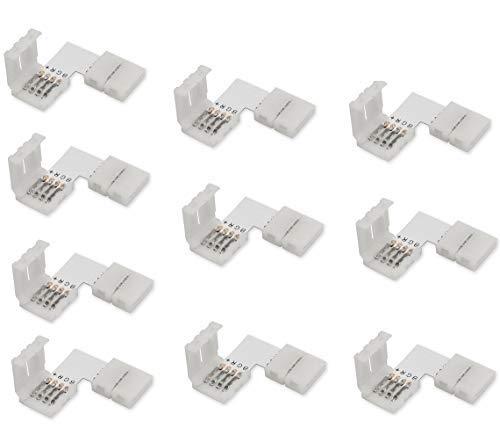 Cooligg 10x L Form LED RGB Eckverbinder 4 polig 10mm mit Clip vom DE Händler, LED Streifen Verbinder SMD 5050 3528 2835 Led Strips Connector Schnellverbinder, LED Zubehör, Rechnung per Email