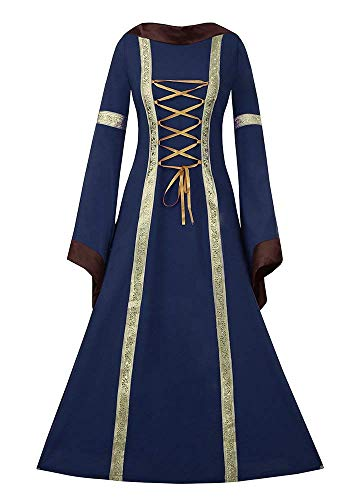 Gemijacka Damen Mittelalter Kostüm Hoody Langarm Maxikleid Prinzessin Renaissance Kleidung