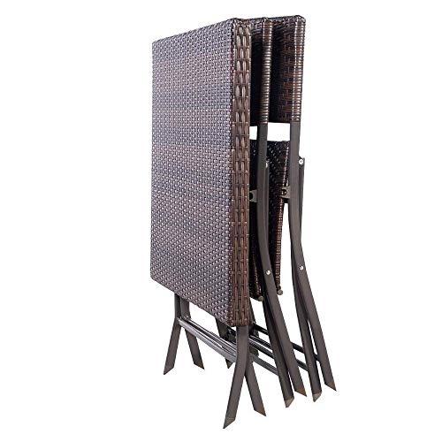 Wicker-schreibtisch-stuhl (AOLI 3 Pc Outdoor Klapptisch Stuhl Möbel Set Rattan Wicker Bistro Patio Brown Gartenmöbel-Stühle Glass-Top Couchtisch Set)