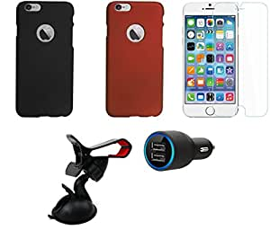 NIROSHA Tempered Glass Screen Guard Cover Case Car Charger Mobile Holder for Apple iPhone 6Plus - Combo