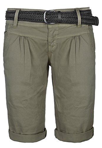 Fresh Made Damen Bermuda-Shorts im Chino Style | Elegante kurze Hose mit Flechtgürtel middle-green S